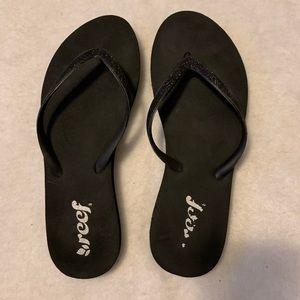 Reef Sparkly Black Flip Flops